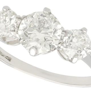 2 ct Diamond and Platinum Three Stone Ring - Vintage Circa 1940