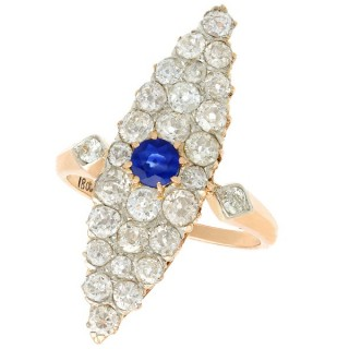0.42 ct Sapphire and 2.92 ct Diamond, 18 ct Yellow Gold Marquise Ring - Antique Circa 1900