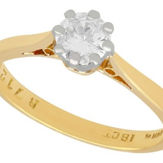 0.42ct Diamond and 18ct Yellow Gold, 18ct White Gold Set Solitaire Ring - Antique and Vintage