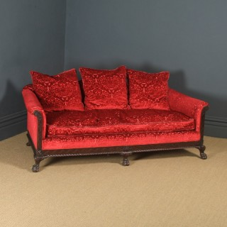 Antique English Georgian Chippendale Style Camel Back Mahogany Sofa / Settee / Couch (Circa 1860)