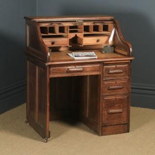 Antique English Edwardian 3ft Oak Angus Roll Top Pedestal Office Desk (Circa 1910)