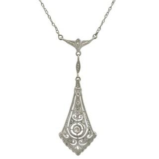 0.14 ct Diamond and 14 ct Yellow Gold Necklace - Art Deco - Antique Circa 1920