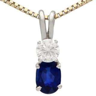 0.74 ct Sapphire and 0.28 ct Diamond, 18 ct White Gold Pendant - Vintage Circa 1950