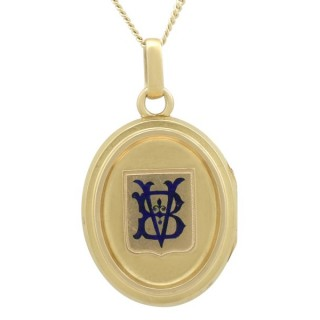 Blue Enamel and 18 ct Yellow Gold Locket - Antique Victorian