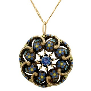 0.44ct Sapphire and Polychrome Enamel, 18ct Yellow Gold Pendant/Brooch - Antique Circa 1920