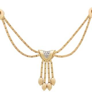 0.22ct Diamond and 18ct Yellow Gold Necklace - Art Deco - Vintage Circa 1940
