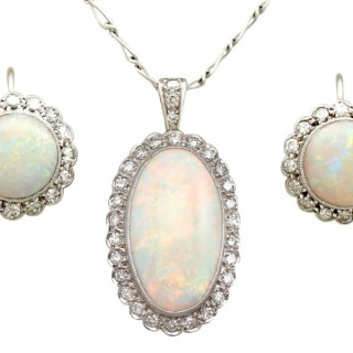 8.18ct Opal and 0.98ct Diamond, 9ct White Gold and Platinum Earring and Pendant Set - Antique Circa 1920