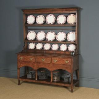 Antique Welsh Carmarthenshire Georgian Oak Dresser Base Sideboard Potboard & Rack (Circa 1790)