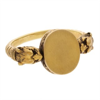 Antique Gold Double Lion Head Signet Ring Circa 1880