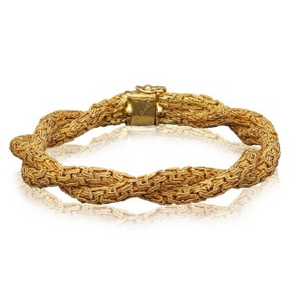 Textured 18ct Yellow Gold Double Rope Twist Bracelet By Bulgari
