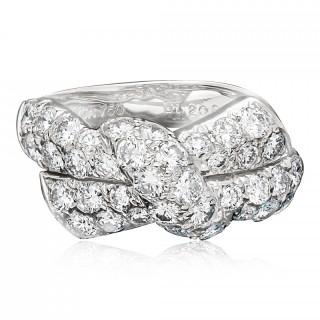 Van Cleef & Aprels Pretty 18ct White Gold Diamond Stylised Bow Ring