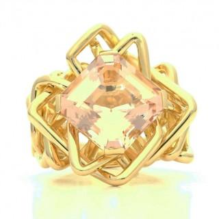 Amy Burton 8.32ct Blush Pink Asscher Cut Morganite Rose Gold Disorient ring