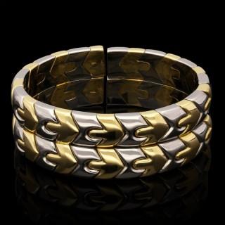 18ct Gold Stainless Steel Open Sprung Cuff Bangle Bulgari