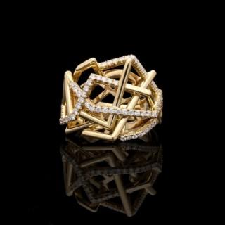Amy Burton Yellow Gold Diamond Disorient Ring Openwork Sculptural Design