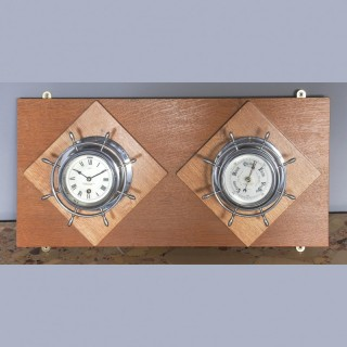 Antique Pair of Chrome Ships Bulkhead Clock and Barometer