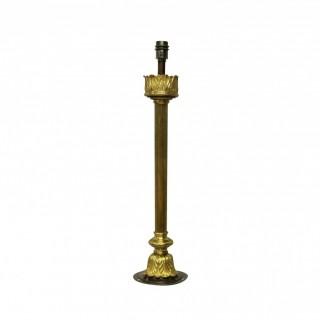 A LARGE ENGLISH GILT BRONZE COLUMN LAMP