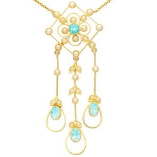 1.15 ct Aquamarine and Seed Pearl, 15 ct Yellow Gold Pendant - Antique Circa 1910