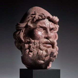 An Exceptional Carved Porphyry Head of Odysseus/Ulysses