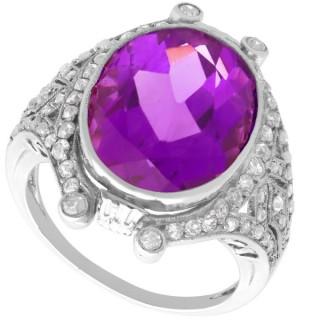 9.20 ct Amethyst and 1.05 ct Diamond, Platinum Dress Ring - Antique Circa 1925