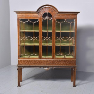 Antique Chinese Chippendale Mahogany Display Cabinet