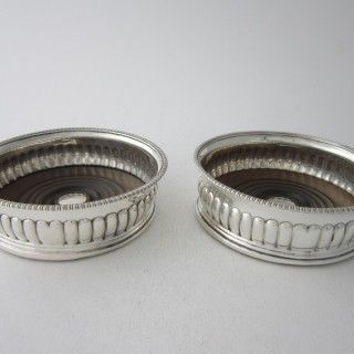 Antique George III Sterling Silver Wine Coasters - 1808
