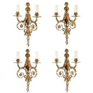 Set of Four Gilt Brass Wall Lights