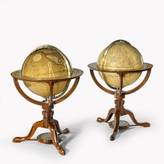 A pair of 12 inch table globes by G & J Cary, dated 1800 and 1821