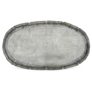 Antique German naive engraved pewter tray