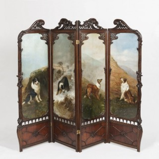 A Rare Four-Fold Screen The panels by Maud Earl