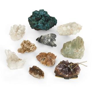 Set of ten natural crystal specimens