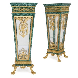 Pair of malachite and gilt bronze pedestal display cabinets