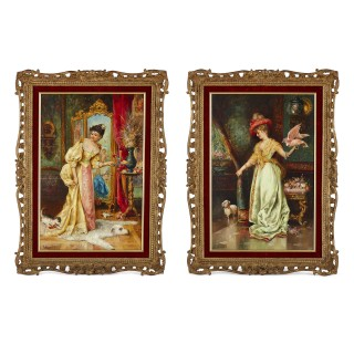 Pair of genre paintings of ladies with animals by Hans Zatzka