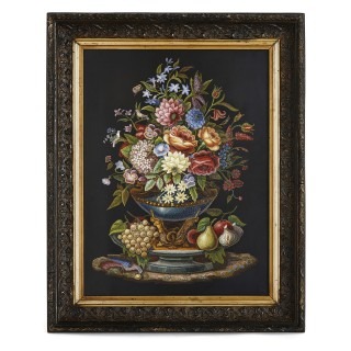 Large floral micro-mosaic by the Vatican Mosaic Studio
