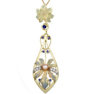 0.19ct Sapphire and 0.11ct Diamond, Pearl and Enamel, 18ct Yellow Gold Pendant - Antique Victorian