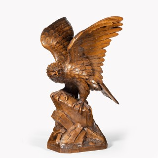 A Black Forest walnut model of a golden eagle attributed to Alfred Stähli