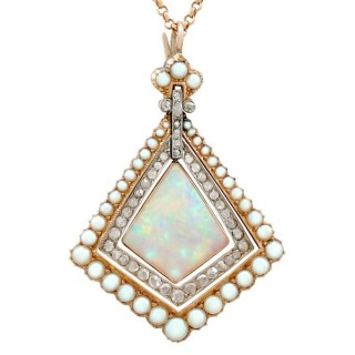 2.88ct Opal and 0.84ct Diamond, Pearl and 15ct Yellow Gold Pendant - Antique Circa 1900