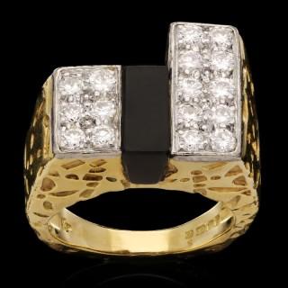 Vintage Kutchinsky Gold Diamond Black Onyx Dress Ring 1973
