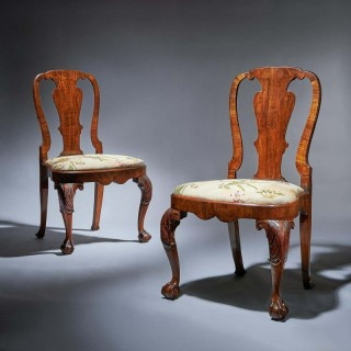 Pair of 18th Century George I Carved Walnut Chairs