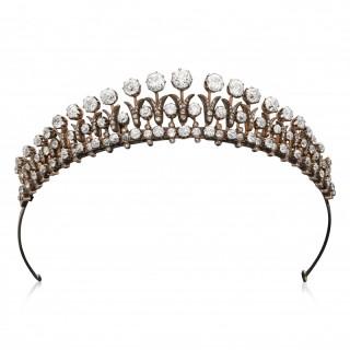 Stunning Victorian Old-Cut Diamond Fringe Tiara Convertible To Necklace / Bracelet Circa 1880
