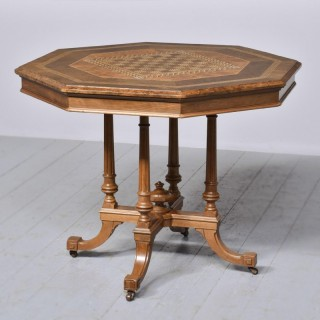 Victorian Walnut and Inlaid Games Table