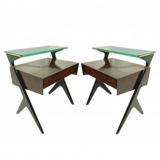 A PAIR OF ARCHITECTURAL NIGHT STANDS BY ICO PARISI