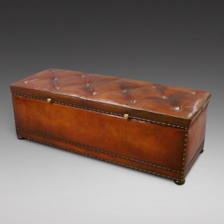 A very large Victorian leather ottoman