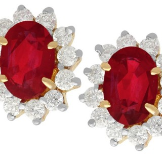 3.20ct Ruby and 0.50ct Diamond, 18ct Yellow Gold Cluster Earrings - Vintage Circa 1990