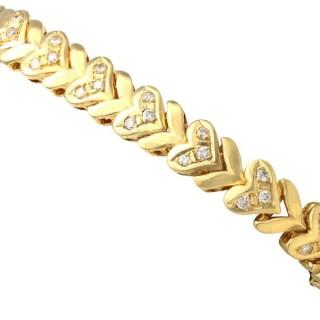 1.82 ct Diamond and 18 ct Yellow Gold Bracelet - Vintage Circa 1980