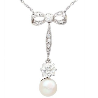 Pearl and 1.50 ct Diamond, 14 ct Yellow Gold Necklace - Antique Circa 1910