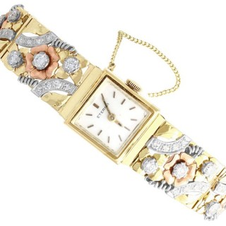 5.72ct Diamond and 14ct Yellow, Rose and White Gold Ladies Watch - Vintage Circa 1955