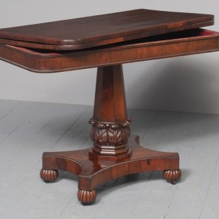Antique William IV Rosewood Fold Over Tea Table