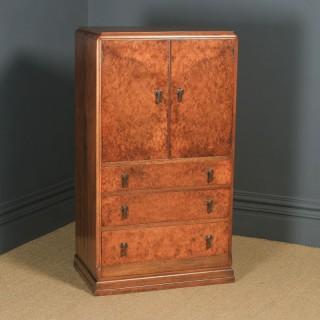 Antique English Art Deco Burr Walnut Two Door Tallboy Compactum Chest of Drawers (Circa 1930)