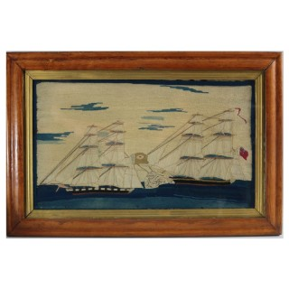 Antique Sailor's Woolwork Picture of Ships in Battle