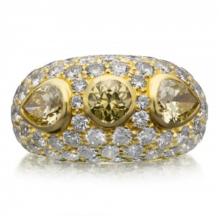 Van Cleef & Arpels Vintage Gold Bombe Dress Ring Yellow And White Diamonds